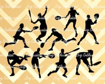 Tennis player SVG, Tennis silhouette, Tennis  bundle svg, Tennis  player cut file, Tennis SVG, Vinyl, EPS, Dxf, Cut Files, Clip Art, Vector,