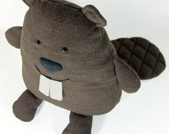 """Stuffed Beaver animal. Plush beaver. Brown beaver. Soft toy beaver named """"Dobr"""". Cute brown toy. Softy kindly sitting beaver with teeth."""