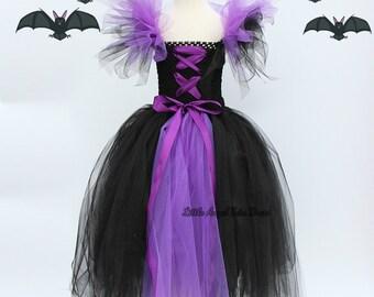 Maleficent Inspired Tutu Dress, Fancy Dress Costume, Black Purple Dress, Party Dress, Handmade Maleficent. Halloween Costume. Fancy Dress