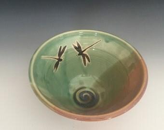 Stoneware, Wheel Thrown, Dragonfly Bowl