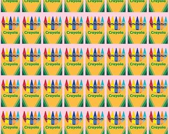 Riley Blake - Colorfully Creative - Crayola - Box - C5402-Pink - Back to School - Fall - Autumn - Box - Pink - Crayon - Crayons