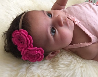 Baby headband crocheted flowers