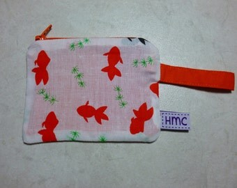 Mini zippered bag.  Koi print. 11cm x 9cm. Fully lined and washable. Ideal for kids lunch money.