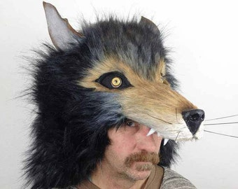 Wolf mask headdress. Realistic animal masquerade masks men, women. Adult size hand made timber wolf costume head. Animal friendly, faux fur.