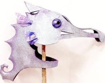 Seahorse Mask. Mermaid costume masquerade headdress for adult or child. Handmade hippocampus head. Sea horse headpiece fish mask.