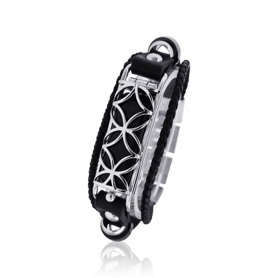 Flex  bracelet Fusion 2 - made from stainless steel and leather