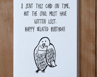 Owl Mail Belated Birthday: Harry Potter Inspired Belated Birthday Card, Happy Birthday Card