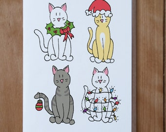 Cat Christmas Card, Animal Christmas Card, Animal Cards