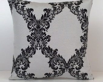 Greyish Off White and Black Pillow, Throw Pillow Cover, Decorative Pillow Cover, Cushion Cover, Pillowcase, Floral Pattern, Cotton Blend