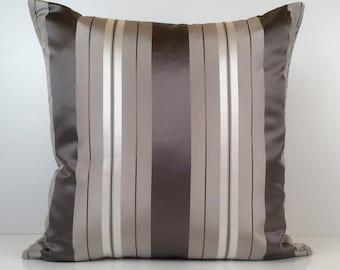Charcoal Grey, Grey, and Silver Pillow, Throw Pillow Cover, Decorative Pillow Cover, Cushion Cover, Striped Pillow, Silk Blend Pillow