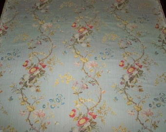 SCALAMANDRE MEISSEN SILK Lampas Damask Fabric 10 Yards Anis Blue