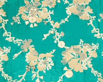 BEACON HILL Sea QUEEN Nautical Embroidery Seashells Tassles Beads Silk Fabric 5 Yards Oasis Green