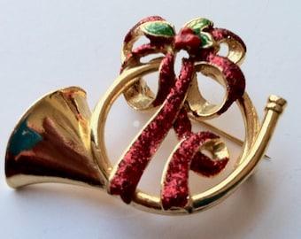 Vintage Danecraft Christmas French Horn Brooch Designer Signed