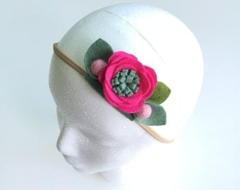 Fuchsia || Single Flower Headband