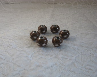 Handmade, 6 Pieces, Metallic Brown, White & Brown Polymer Clay Rondelle Beads