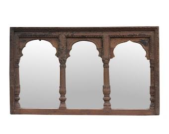 19th-C. Triple-Arched Framed Mirror, Vintage Framed Mirror