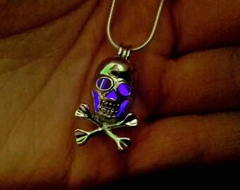 Glow in the Dark Skull Locket Necklace