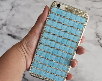 Luxury Light Blue Bling Rhinestone Hard Handcrafted Handmade 3D Cover Protective bling case Samsung Galaxy S7, Samsung Galaxy S7 Edge