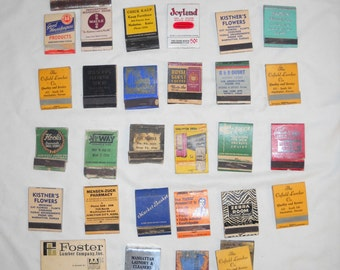 Vintage Collectible Matchbooks, 32 Matchbooks, Retail Stores and Supermarkets