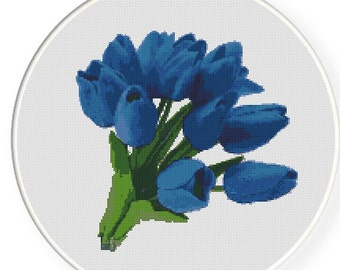 MORE for FREE - Blue Tulips - Counted Cross stitch pattern PDF - Instant Download - Cross Stitch Pattern - Flowers-Love- Needlepoint #1438