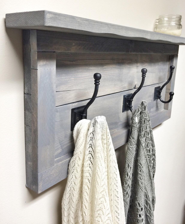 Rustic Wooden Entryway Grey Coat Rack Rustic Wooden Shelf