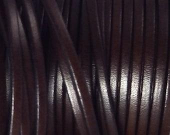 Brown flat leather dark 3mm per 1 meter