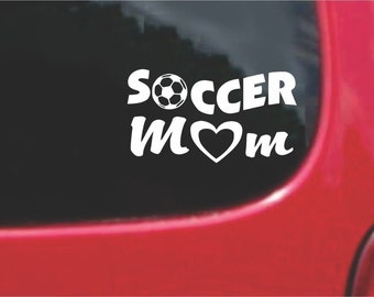 Set (2 Pieces)  Soccer Mom Sticker Decals with custom text 20 Colors To Choose From.  U.S.A Free Shipping