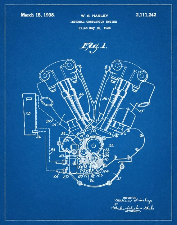 Patent 1936 Harley Knucklehead Engine Poster Wall Art – Knucklehead Engine Diagram