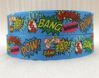1 Yard 1 inch POW, BANG, ZAP On Light Blue - Super Hero Superhero Printed Grosgrain Ribbon for Hair Bow