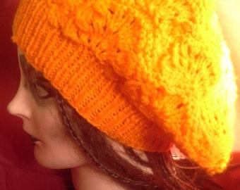 Orange Knit Beret