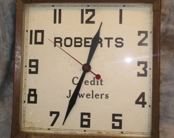 Roberts Credit Jewelers Wall Mount Clock Sign Vintage Advertising b