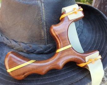 Custom Chechen & Purpleheart Slingshot - handmade from exotic hardwoods