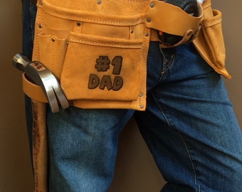 Personalized engraved Fathers day gift leather tool belt with name/saying construction, contractor,