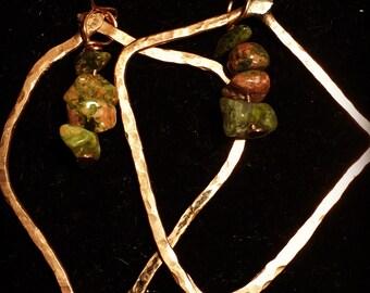 Copper Earrings, copper dangle earrings, funky copper earrings, copper and green earrings