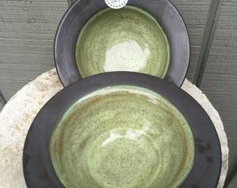 Set of 2 wheel thrown soup bowls