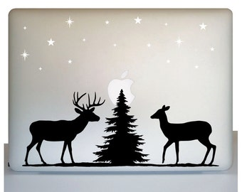 Laptop wildlife decal, deer decal, forest scene decal, wilderness decal, nature decal