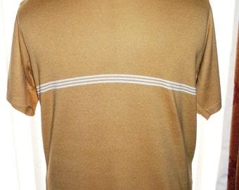 Mens Golden Brown Short Sleeved Cotton Mix Jumper
