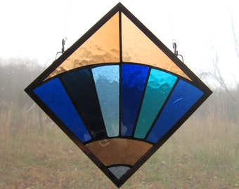 Appalachian Quilt Square Stained Glass Fan Window Hanging in Blue and Beige, Blenko Antique Glass, Traditional Quilt Design