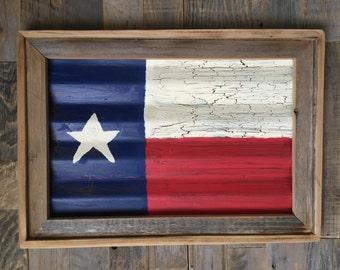 Corrugated Tin and Rustic Wood Texas Flag