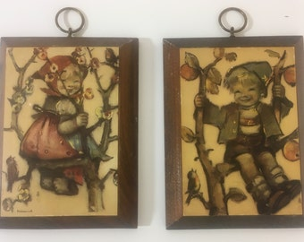 Vintage Hummel Wooden Plaques - Set of 2 - Girl and Boy in Tree