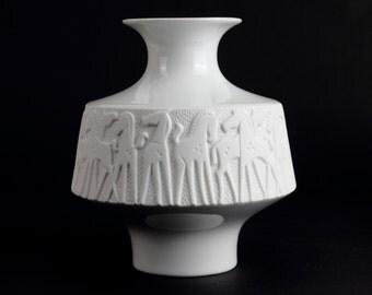 "White Edelstein vintage bisque porcelain vase ""horses"" op art - Mid Century German Porcelain from the 70s"
