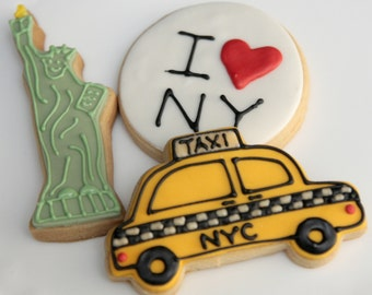 """1 Dozen Decorative 4"""" NYC Theme Cookies"""