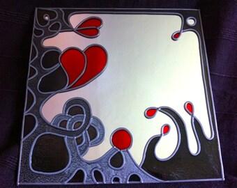 "Hand Made 'Volcanic Hearts' design Mirror. 12x12"""