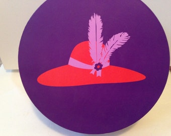 "Red Hat Society hat box. 15"" across x 6"" deep. #631"