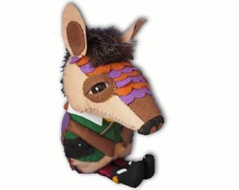 Arnie the Armadillo - handmade plush creature plushie toy - unique birthday gift