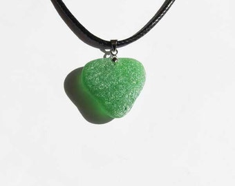 Green Heart Sea glass Necklace - genuine heart shaped sea glass jewelry seaglass heart necklace beach glass necklace beach jewelry (SGN-16)