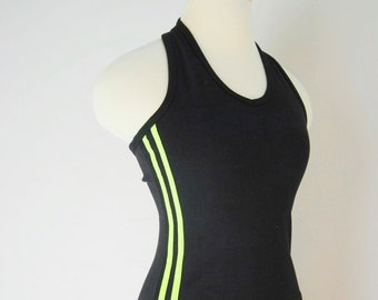 90s Halter Top, Vintage Black And Neon Striped Top, Spice Girls, Sporty Spice, Adidas, Athletic Stripe, Grunge, Stretch Cotton, Small