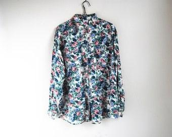 90s Rose Floral Silk Shirt, Vintage Pastel Flower Print Top, 90s Grunge, Silk Long Sleeve Top With Collar