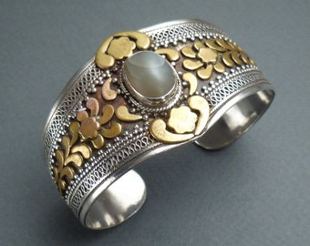 925 silver and ? with agate stone cuff bracelet