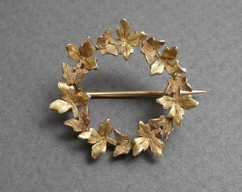14K gold wreath brooch c 1900